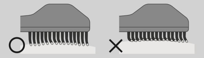 エレクトロン エブリワン デンキバリブラシ(電気バリブラシ) ブラシ先端はなるべく垂直に、